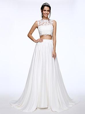 Lanting Bride® A-line Wedding Dress Court Train Bateau Lace / Charmeuse with Appliques / Beading / Button