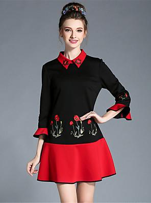 aufoli efterår kvinder stor størrelse retro broderi farve blok 3/4 flare ærmet patchwork flæse kjole