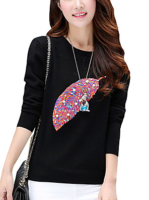Women's Plus Size / Casual/Daily Cute / Street chic Long PulloverPrint Slim All Match Round Neck Long Sleeve