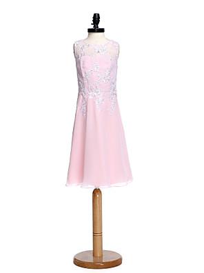 באורך  הברך שיפון / תחרה שמלה לשושבינות הצעירות  מעטפת \ עמוד עם תכשיטים עם אפליקציות / חרוזים