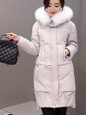 Women's Down Coat,Simple Casual/Daily Solid-Fox Fur White Duck Down Long Sleeve Hooded Gray