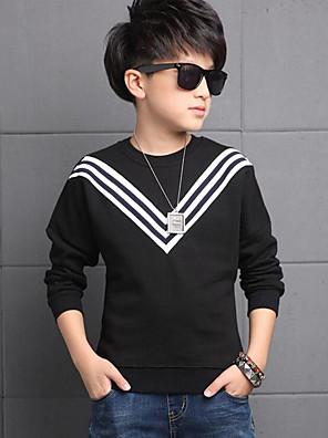 Boy's Casual/Daily Striped Hoodie & Sweatshirt,Cotton Winter / Spring / Fall Black / White