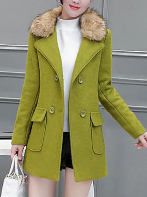 אחיד דש קלאסי פאנק & גותיות / מתוחכם ליציאה / עבודה מעיל נשים,ירוק / כתום שרוול ארוך סתיו / חורף עבה חוטי זהורית