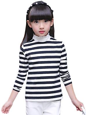 Menina de Camiseta,Casual Listrado Algodão / Elastano Primavera / Outono Colorido
