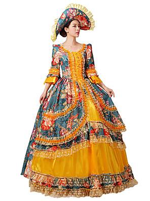 Uma-Peça/Vestidos Gótica / Doce / Lolita Clássica e Tradicional / Punk Steampunk® / Princesa Cosplay Vestidos Lolita Laranja Floral3/4 de