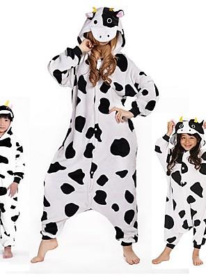 Kigurumi Pijamas vaca Malha Collant/Pijama Macacão Festival/Celebração Pijamas Animal Branco Animal Mink Velvet Kigurumi ParaUnisexo /