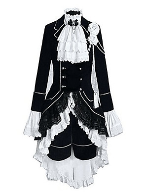 Inspirado por Black Butler Ciel Phantomhive Anime Fantasias de Cosplay Ternos de Cosplay Color Block / Patchwork Branco / PretoManga