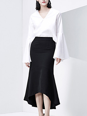 CHOCOLATONE Women's Going out Vintage Fall ShirtSolid V Neck Long Sleeve White Cotton Medium