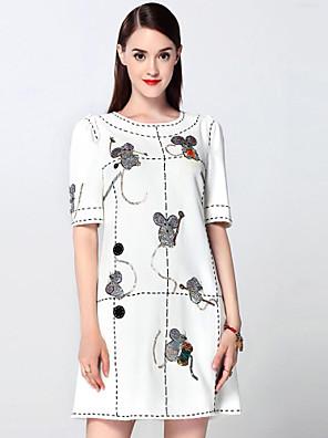 קיץ כותנה / פוליאסטר לבן שרוולים קצרים מעל הברך צווארון עגול רקמה מתוחכם ליציאה שמלה גזרת A נשים,גיזרה בינונית (אמצע) קשיח