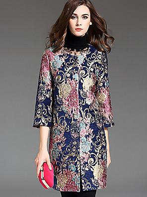 Dames Vintage Herfst Trenchcoat,Grote maten / Casual/Dagelijks Ronde hals-Driekwart mouw Blauw Jacquard Medium Polyester