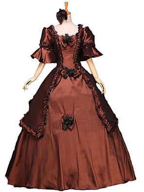 Uma-Peça/Vestidos Gótica / Doce / Lolita Clássica e Tradicional / Punk Steampunk® / Vitoriano Cosplay Vestidos Lolita Marrom Floral3/4 de
