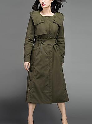 Casual/hétköznapi Egyszerű Téli-Női Kabát,Egyszínű Kapucni Hosszú ujj Zöld Pamut Vastag