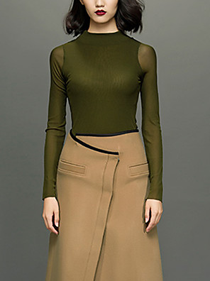 CHOCOLATONE Women's Casual/Daily Simple Spring / Fall ShirtSolid Crew Neck Long Sleeve Green Polyester