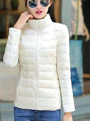 Women's Long Down Coat,Simple Casual/Daily Solid-Nylon White Duck Down Long Sleeve Blue / White / Black / Purple
