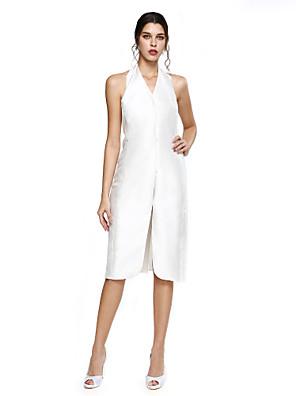TS Couture® מסיבת קוקטייל שמלה - פורקל מעטפת \ עמוד קולר באורך  הברך מיקאדו עם שסע קדמי