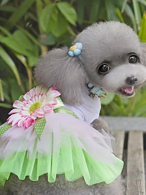 חתולים / כלבים שמלות ירוק / ורוד בגדים לכלבים קיץ / קיץ/אביב פרח חמוד / אופנתי