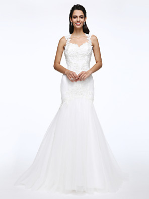 2017 Lanting Bride® Fit & Flare Wedding Dress Court Train Queen Anne Lace / Tulle with Appliques / Beading / Pearl