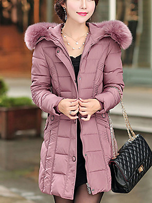 Women's Regular Padded Coat,Simple Plus Size / Casual/Daily Solid-Cotton / Polyester Polyester Long Sleeve HoodedPink / Red / Black /