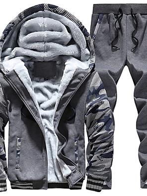 שרוול ארוך סתיו / חורף כותנה / פוליאסטר מיקרו-אלסטי בטנה מפליז טלאים activewear הגדר סגנון רחוב מידות גדולות גברים