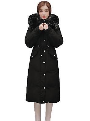 Dámské Dlouhé Dlouhý kabát Jednoduché Běžné/Denní Jednobarevné-Kabát Polyester Prachové kachní peří bílé Dlouhý rukáv Růžová / Černá