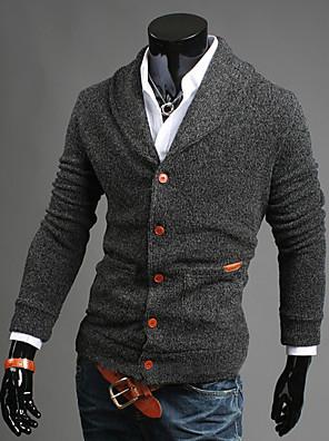Herre Simpel / Street I-byen-tøj / Casual/hverdag Normal Cardigan Ensfarvet,Blå / Sort / Grå V-hals Langærmet Bomuld Efterår / Vinter