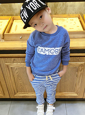 Girl's Casual/Daily Print Clothing SetCotton Fall Blue / Brown