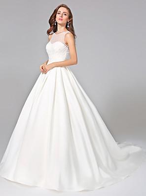 Lanting Bride® Ball Gown Wedding Dress - Elegant & Luxurious Open Back Chapel Train Jewel Mikado withBeading / Button / Ruche / Sash /