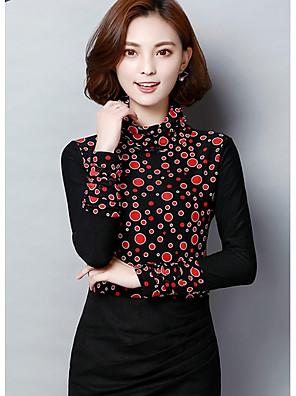 מנוקד סגנון רחוב חולצה נשים שרוול ארוך אדום / לבן פוליאסטר