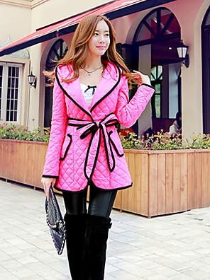 Pink Doll®Women's Casual Party Fashion Hooded Belt Included Long Sleeve Coat