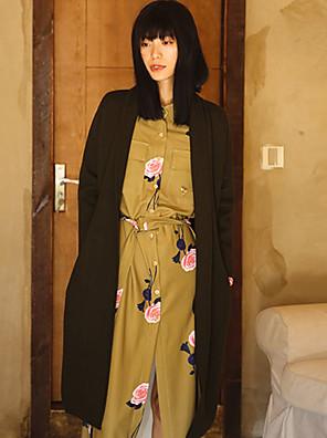 Casual/hétköznapi Egyszerű Téli-Női Kabát,Egyszínű Hosszú ujj Zöld Gyapjú Vastag