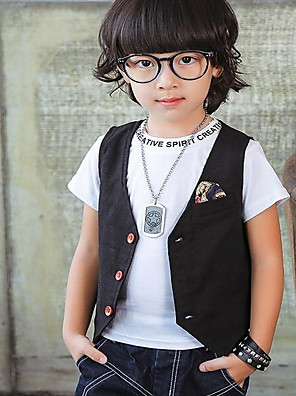 Boy Casual/Daily Solid Vest,Linen Spring / Fall Sleeveless Regular
