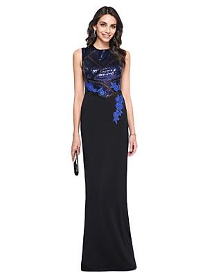 TS Couture® ערב רישמי שמלה מעטפת \ עמוד צווארון גבוה עד הריצפה נצנצים / סאטן מאט עם אפליקציות / נצנצים