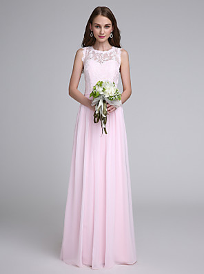 2017 Lanting Bride® Floor-length Chiffon / Lace Bridesmaid Dress Sheath / Column Jewel with Lace