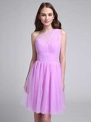 Lanting Bride® באורך  הברך טול שמלה לשושבינה - גזרת A כתפיה אחת עם בד נשפך בצד / סלסולים