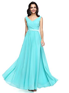 Lanting Bride® Na zem Šifón Šaty pro družičky - Otevřená záda A-Linie Do V s Šerpa / Stuha / Křížení / Sklady