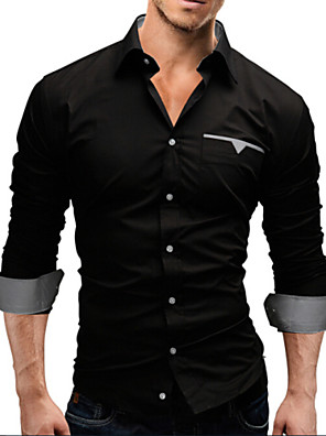 Men's Plus Size White/Black/Red Long Sleeve Shirt, Cotton Blend Casual/Work/Formal Pure