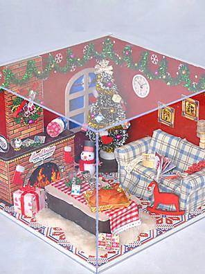 Vánoční dárek romantický manuální hudba prach kryt modelu kutilství dřevo domeček pro panenky včetně všech nábytek Světla žárovku vedené
