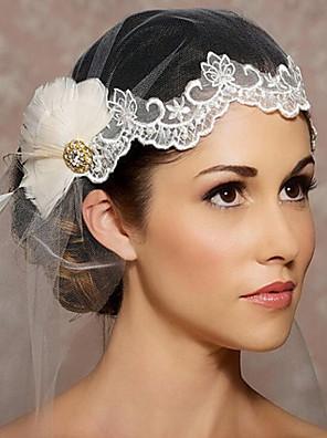 Véus de Noiva Uma Camada Peça para Cabeça com Véu Corte da borda Organza
