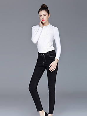 ZIYI Women's Casual/Daily Simple ShirtSolid Round Neck Long Sleeve White Polyester