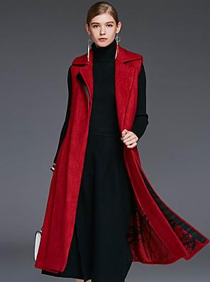 Damen Solide Einfach Lässig/Alltäglich Mantel,Winter Hemdkragen Ärmellos Rot Wolle / Elasthan / Andere