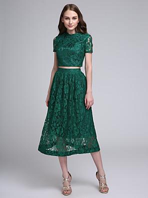 Lanting Bride® Longuette Renda Vestido de Madrinha - Linha A Decorado com Bijuteria com