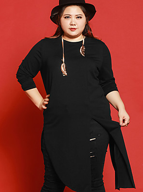JAZZ  Women's Plus Size / Casual/Daily Simple Long CardiganSolid Black Round Neck Long Sleeve Cotton / Spandex Fall Medium Micro-elastic