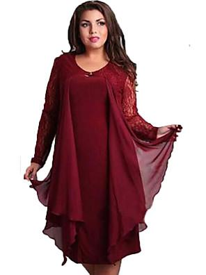 כותנה / פוליאסטר עד הברך צווארון עגול אחיד שמלה מידות גדולות / משוחרר פשוטה נשים