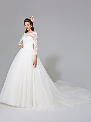 2017 Lanting Bride® Ball Gown Wedding Dress - Classic & Timeless Open Back Chapel Train Jewel Tulle with Appliques / Button