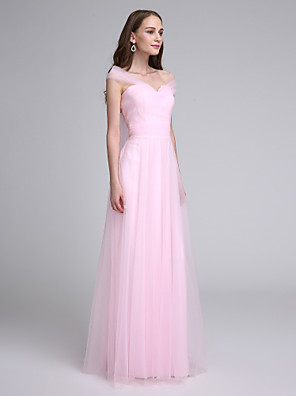 Lanting Bride® Longo Tule Vestido de Madrinha - Linha A Ombro a Ombro com Cruzado / Franzido