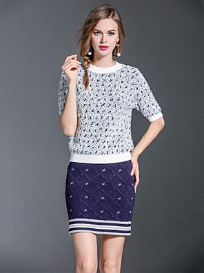 Dames Eenvoudig / Boho Herfst / Winter T-shirt Rok Suits,Uitgaan / Casual/Dagelijks Print Ronde hals Beige Wol / Acryl / Polyester Medium