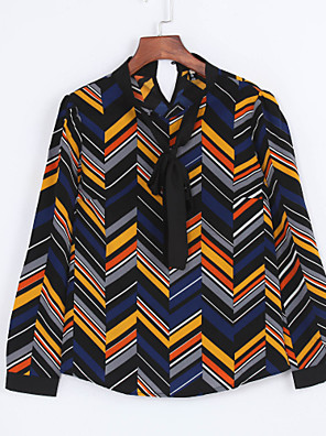 Women's Work Simple All Seasons Shirt,Geometric Bow Long Sleeve Multi-color Polyester Medium