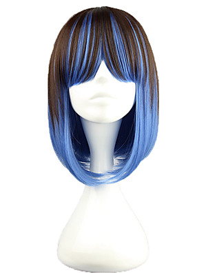 פאות לוליטה לוליטה פאנק צבע הדרגתי קצרה חום / כחול פאות לוליטה 40 CM פאות קוספליי טלאים פאה ל נשים