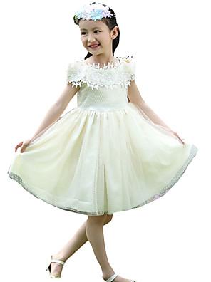Dívka je Šifon Běžné/Denní Jednobarevné Léto Šaty,Krátký rukáv