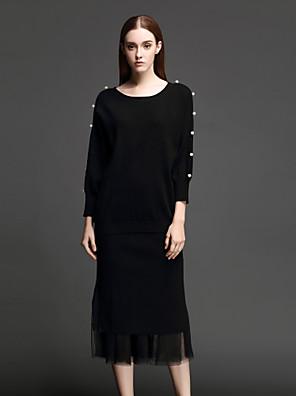 Dames Eenvoudig Herfst / Winter Set Rok Suits,Casual/Dagelijks Effen Ronde hals Driekwart mouw Zwart Overige Medium